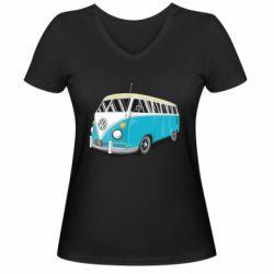 Женская футболка с V-образным вырезом Vector Volkswagen Bus