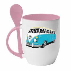 Кружка с керамической ложкой Vector Volkswagen Bus
