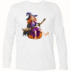 Футболка с длинным рукавом Ведьма верхом на метле - FatLine