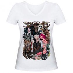 Купить Женская футболка с V-образным вырезом Ведьмак 1, FatLine