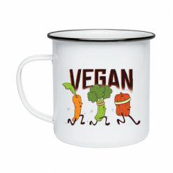 Кружка емальована Веган овочі