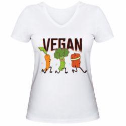 Жіноча футболка з V-подібним вирізом Веган овочі