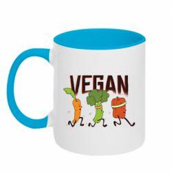 Кружка двоколірна 320ml Веган овочі