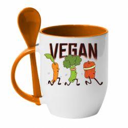 Кружка з керамічною ложкою Веган овочі