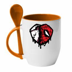 Кружка з керамічною ложкою Venom and spiderman