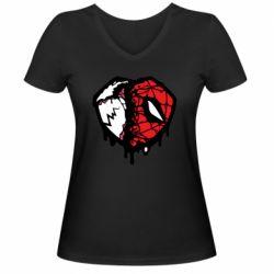 Жіноча футболка з V-подібним вирізом Venom and spiderman