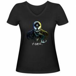 Женская футболка с V-образным вырезом Venom Bust Art
