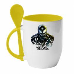Кружка с керамической ложкой Venom Bust Art