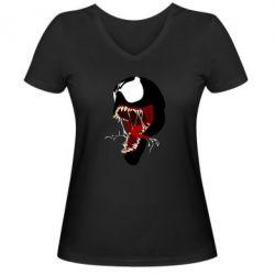 Жіноча футболка з V-подібним вирізом Venom jaw