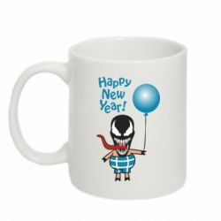 Кружка 320ml Venom pig with a ball wishes a happy new year
