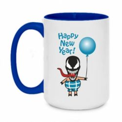 Кружка двоколірна 420ml Venom pig with a ball wishes a happy new year