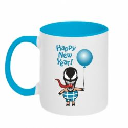 Кружка двоколірна 320ml Venom pig with a ball wishes a happy new year