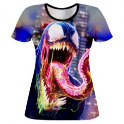 Женская 3D футболка Venom slime