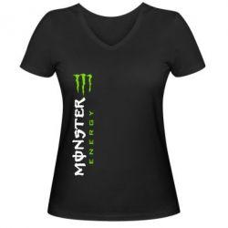 Женская футболка с V-образным вырезом Вертикальный Monster Energy - FatLine
