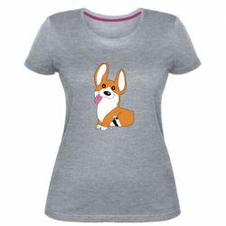 Женская стрейчевая футболка Веселый корги