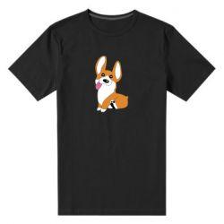 Мужская стрейчевая футболка Веселый корги