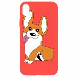 Чехол для iPhone XR Веселый корги