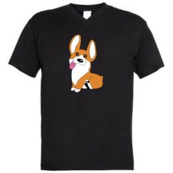 Мужская футболка  с V-образным вырезом Веселый корги