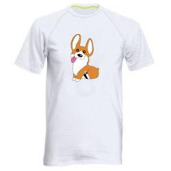 Мужская спортивная футболка Веселый корги