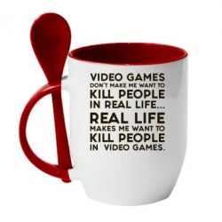 Кружка с керамической ложкой Video games don't make me want to kill people in real life...