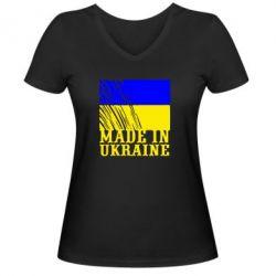 Женская футболка с V-образным вырезом Виготовлено в Україні - FatLine