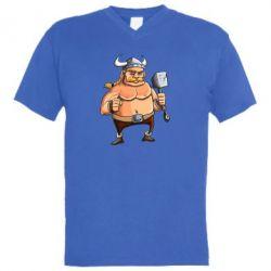 Мужская футболка  с V-образным вырезом Викинг с молотом