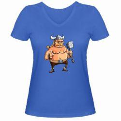 Женская футболка с V-образным вырезом Викинг с молотом