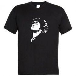 Мужская футболка  с V-образным вырезом Виктор Цой