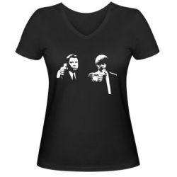 Женская футболка с V-образным вырезом Vincent and Jules - FatLine