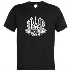 Мужская футболка  с V-образным вырезом Вінок з гербом - FatLine