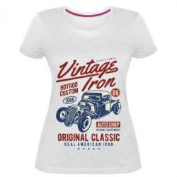 Жіноча стрейчева футболка Vintage iron 1986