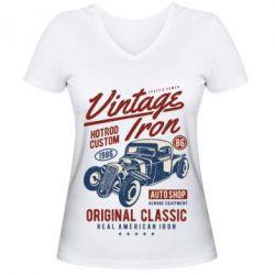 Жіноча футболка з V-подібним вирізом Vintage iron 1986