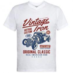 Чоловіча футболка з V-подібним вирізом Vintage iron 1986