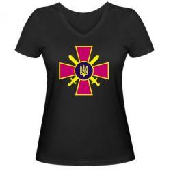 Женская футболка с V-образным вырезом Військо України - FatLine