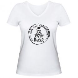 Жіноча футболка з V-подібним вирізом Віза на дакар