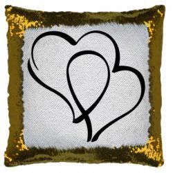 Подушка-хамелеон Влюбленные сердца