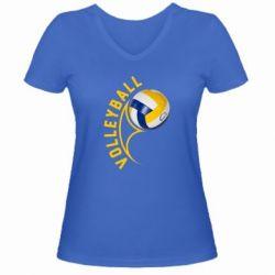 Женская футболка с V-образным вырезом Волейбол