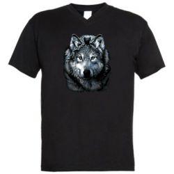 Чоловіча футболка з V-подібним вирізом Вовк гравюра