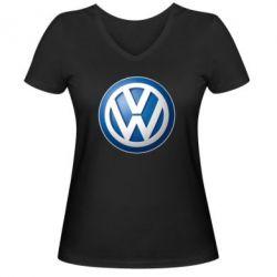 Женская футболка с V-образным вырезом Volkswagen 3D Logo - FatLine