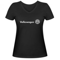 Женская футболка с V-образным вырезом Volkswagen Motors - FatLine
