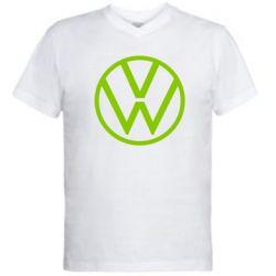 Мужская футболка  с V-образным вырезом Volkswagen new logo