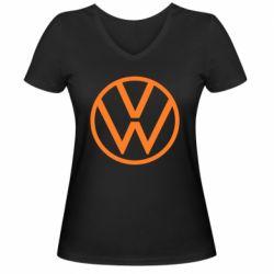 Женская футболка с V-образным вырезом Volkswagen new logo