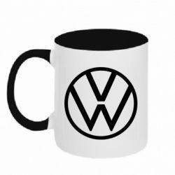 Кружка двухцветная 320ml Volkswagen new logo