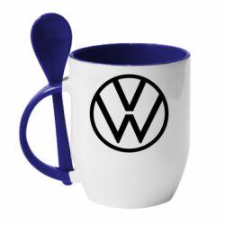 Кружка с керамической ложкой Volkswagen new logo