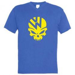 Мужская футболка  с V-образным вырезом Volkswagen Skull - FatLine