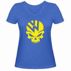 Женская футболка с V-образным вырезом Volkswagen Skull - FatLine