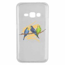 Чехол для Samsung J1 2016 Волнистые попугайчики