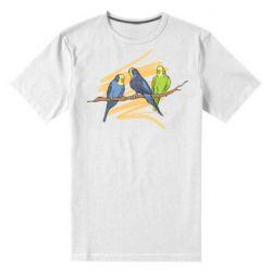 Мужская стрейчевая футболка Волнистые попугайчики