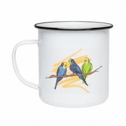 Кружка эмалированная Волнистые попугайчики