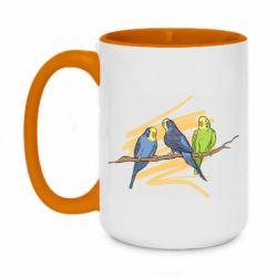 Кружка двухцветная 420ml Волнистые попугайчики